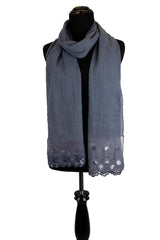 Versatile Sequin Lace Hijab - Denim Blue