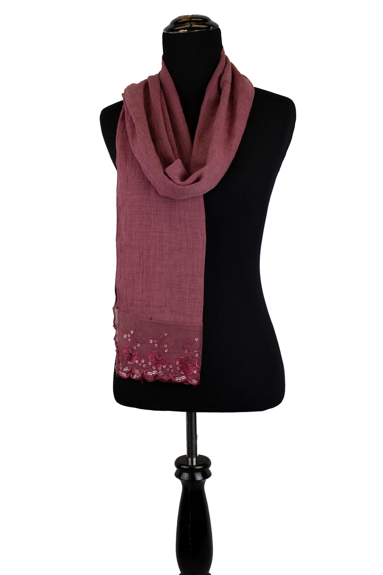 dusty red viscose hijab with sequin lace ends