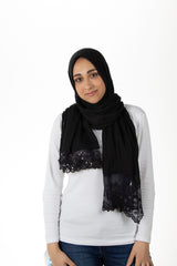 black viscose hijab with lace on the ends embellished with sequins