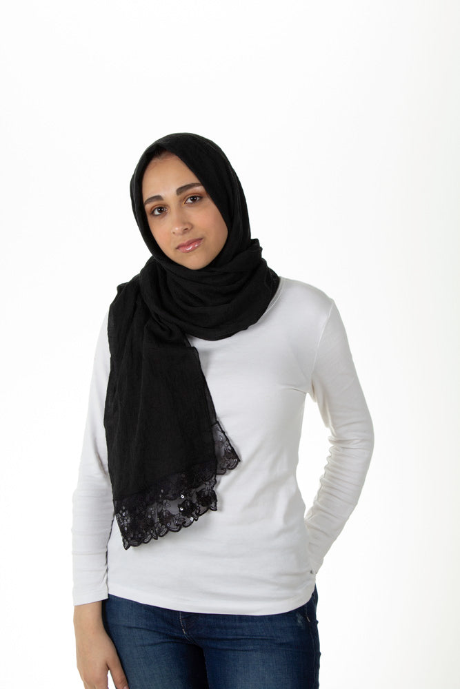 Sequin Lace Hijab -  Black (Sequin Drops)