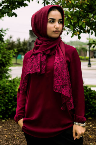 solid burgundy hijab made with modal fabric and embellished with lace