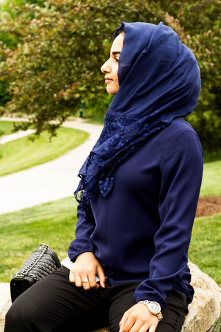 solid navy hijab made with modal fabric and embellished with lace at the ends