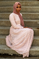 Long Sleeve Lace Maxi Dress with Satin Belt - Blush