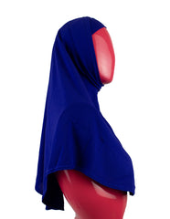 royal blue two piece slip on hijab that covers the chest