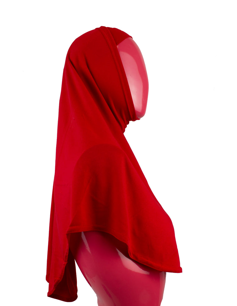 Extra Long Two-Piece Amira Hijab - Red