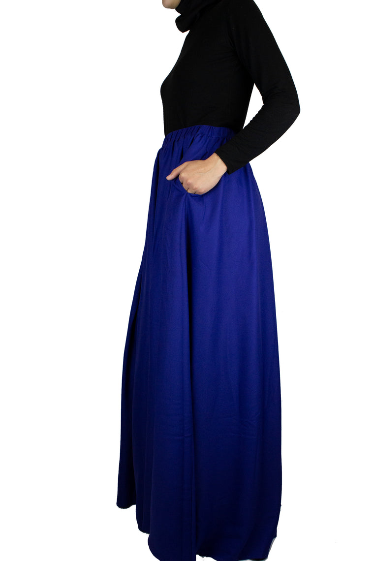 high waisted skirt in royal blue with pockets