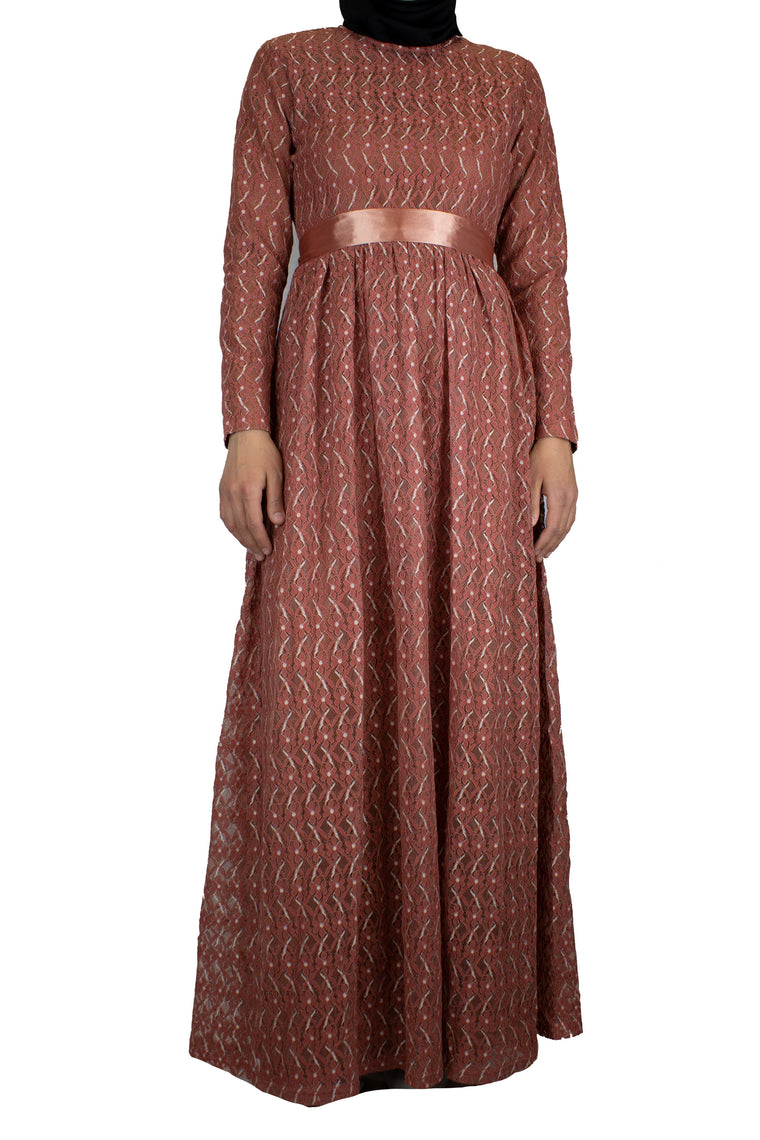 long sleeve maxi dress in burnt orange lace with a satin waist tie