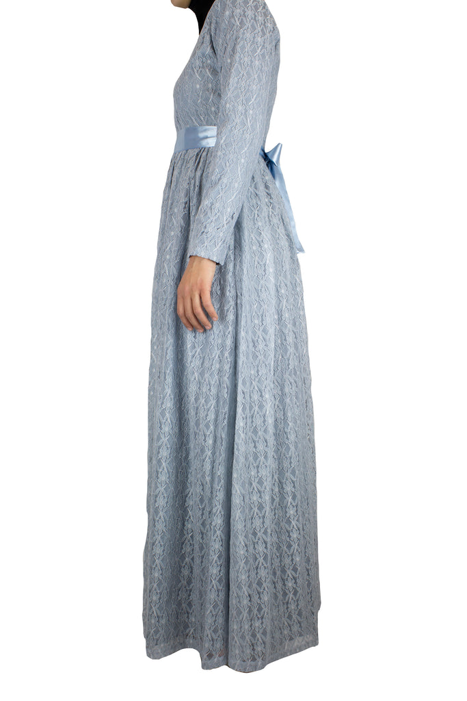 long sleeve maxi dress in baby blue lace with a satin waist tie