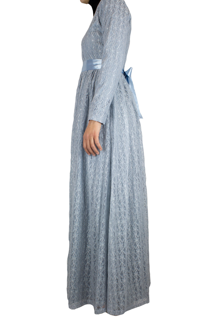 Long Sleeve Lace Maxi Dress with Satin Belt - Pale Blue