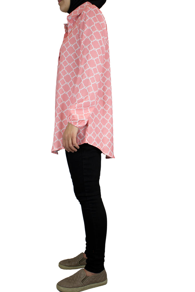 long sleeve modest pink blouse with geometric print