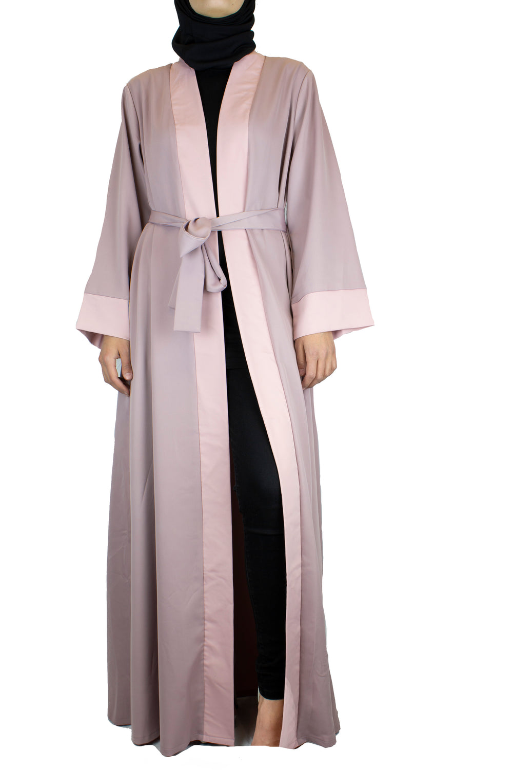 open front abaya in mauve and light pink with a waist tie