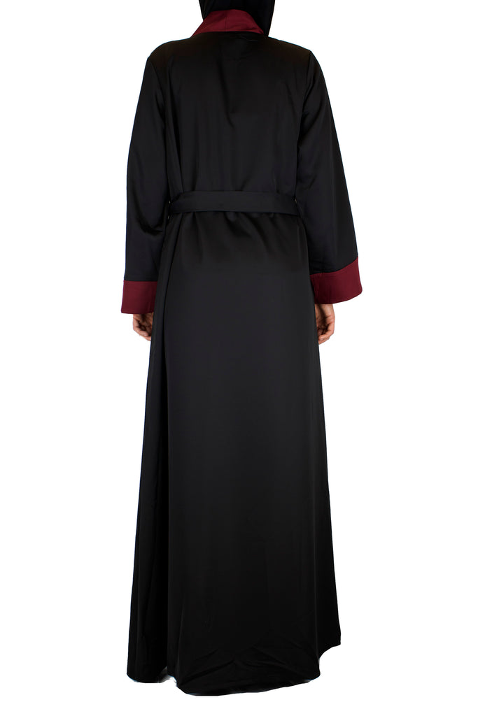 black open abaya with maroon trim and waist tie