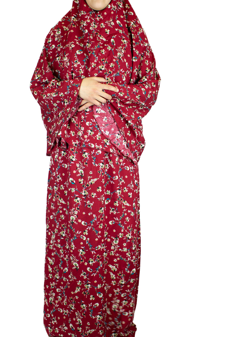 Child Two-Piece Prayer Outfit - Maroon Floral Garden