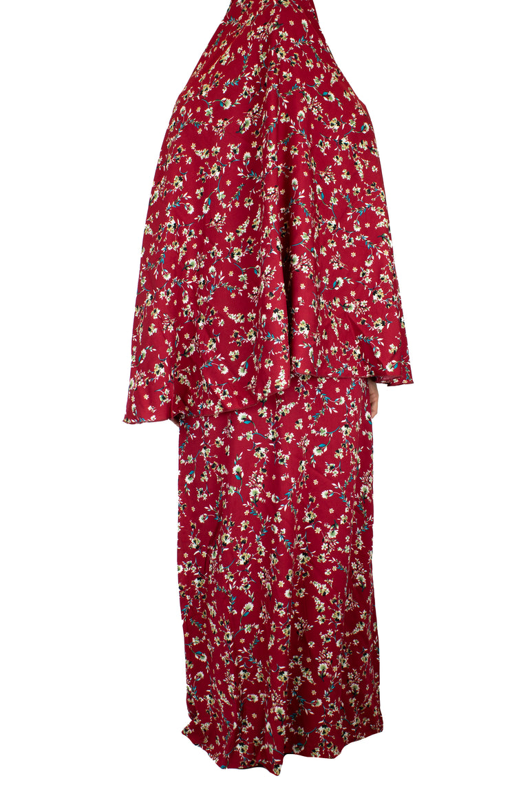 Two-Piece Prayer Outfit - Maroon Floral Garden