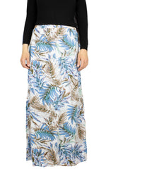 skirt for salah set with blue, white, and beige print