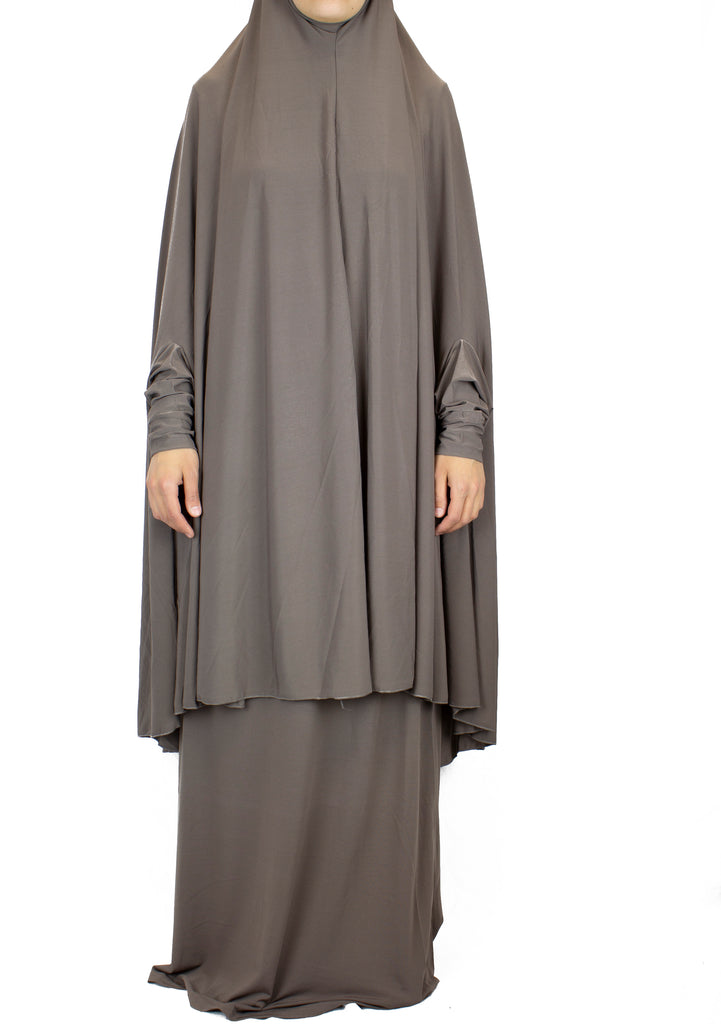 Extra Long Two-Piece Prayer Outfit with Sleeves - Taupe