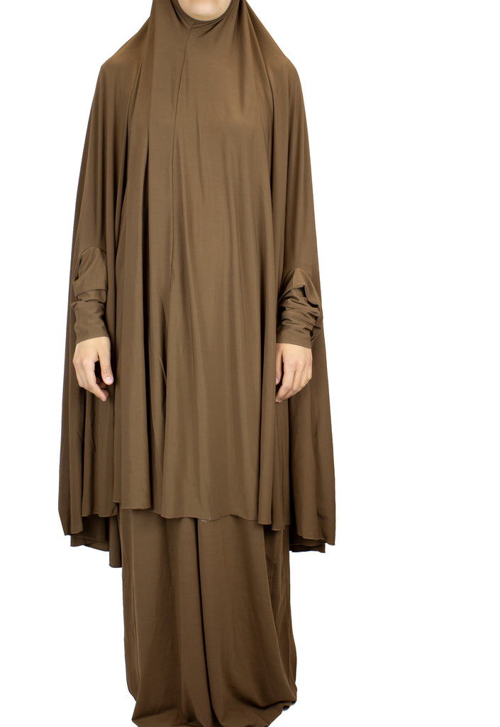 Extra Long Two-Piece Prayer Outfit with Sleeves - Brown