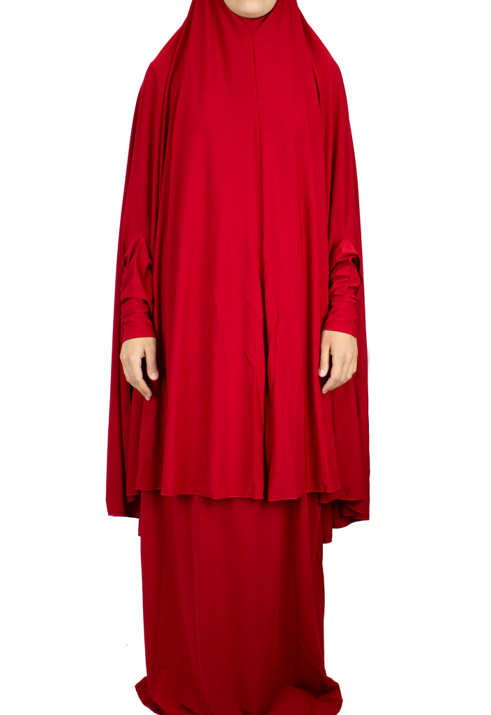 Extra Long Two-Piece Prayer Outfit with Sleeves - Red
