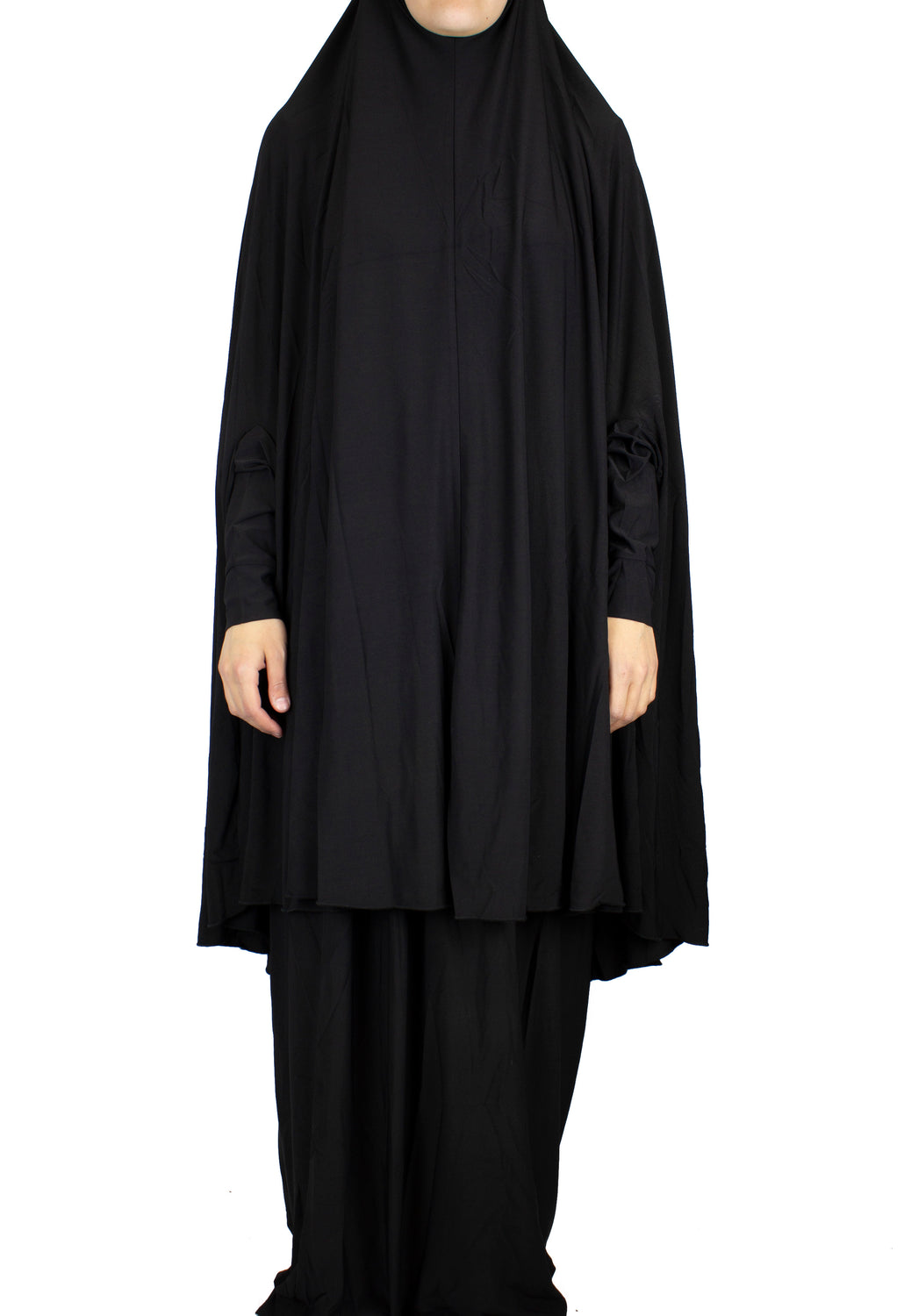black two piece prayer set with a long khimar that covers to the knees and a maxi skirt