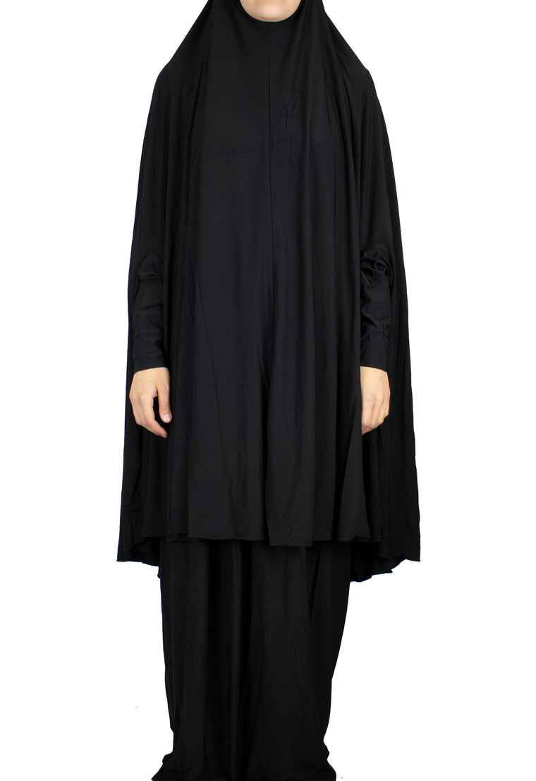 Extra Long Two-Piece Prayer Outfit with Sleeves - Black