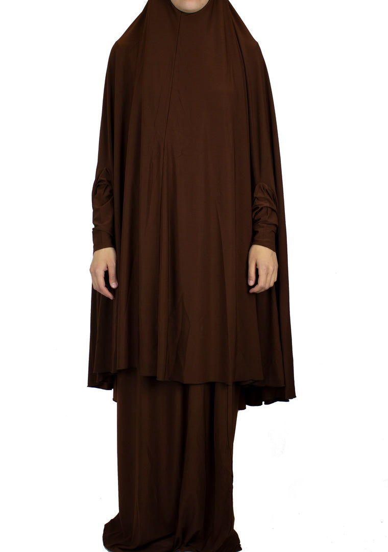 Extra Long Two-Piece Prayer Outfit with Sleeves - Chocolate