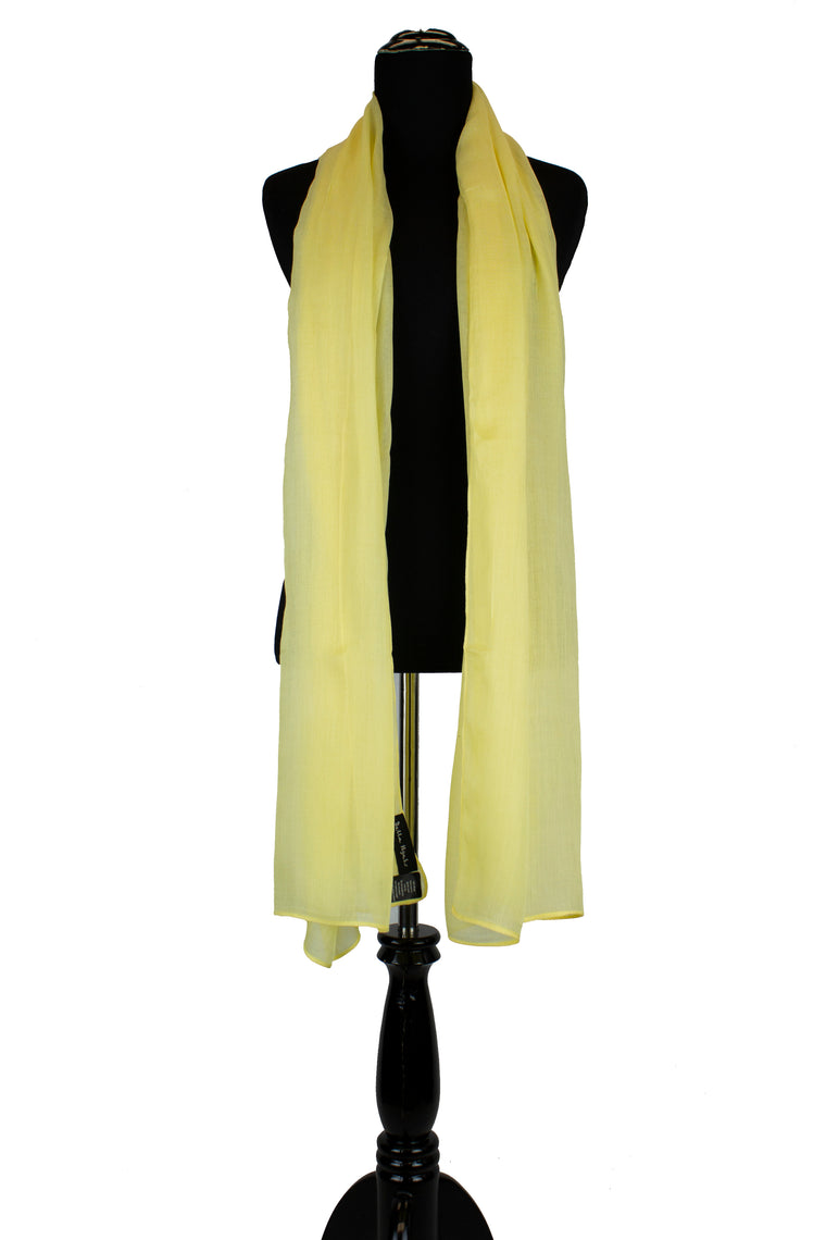 solid light yellow hijab made with modal fabric
