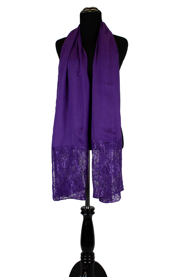 solid purple hijab made with modal fabric and embellished with lace at the ends