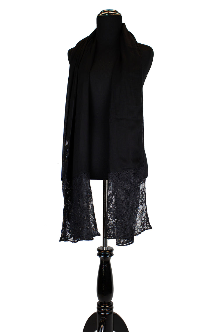 Modal Lace Hijab - Black