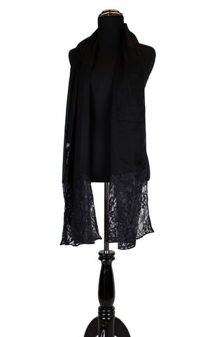 solid black hijab made with modal fabric and embellished with lace