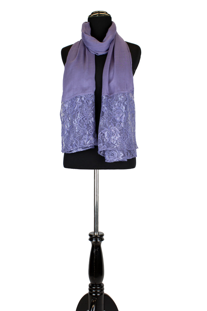 solid periwinkle hijab made with modal fabric and embellished with lace at the ends