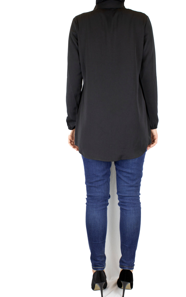 black long sleeve blouse with a basic collar and buttons