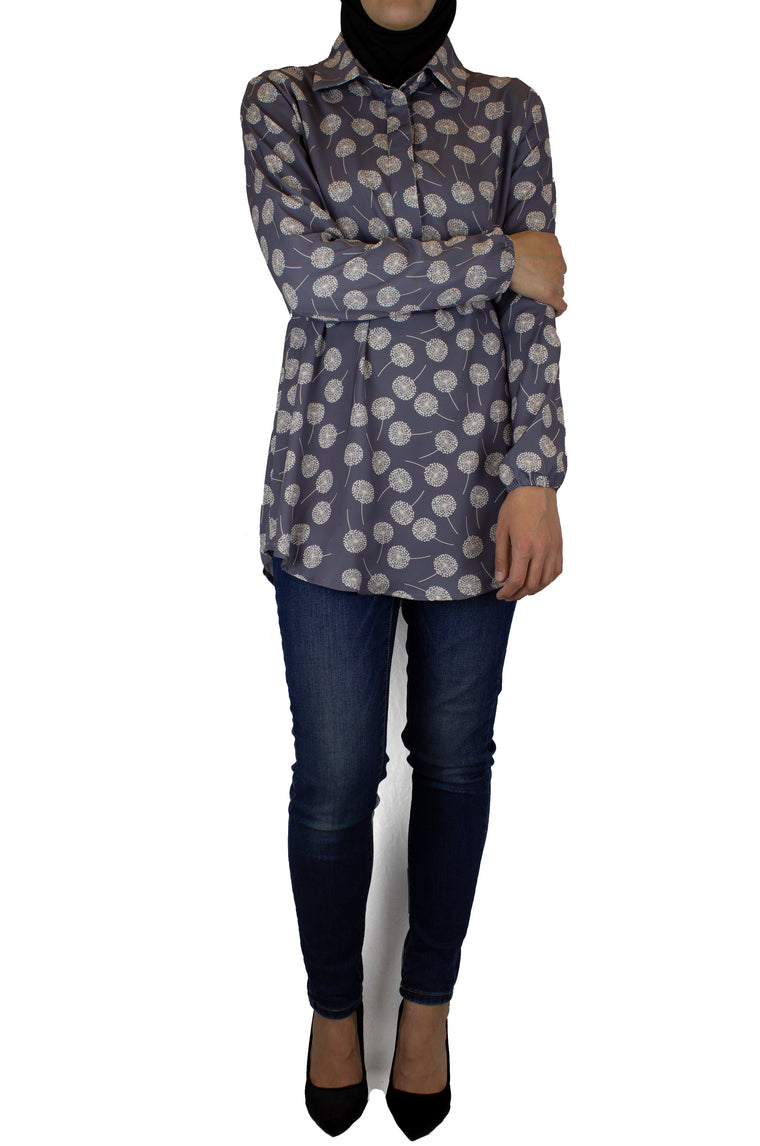 gray dandelion printed top with simple elastic sleeves, a collar, and three buttons