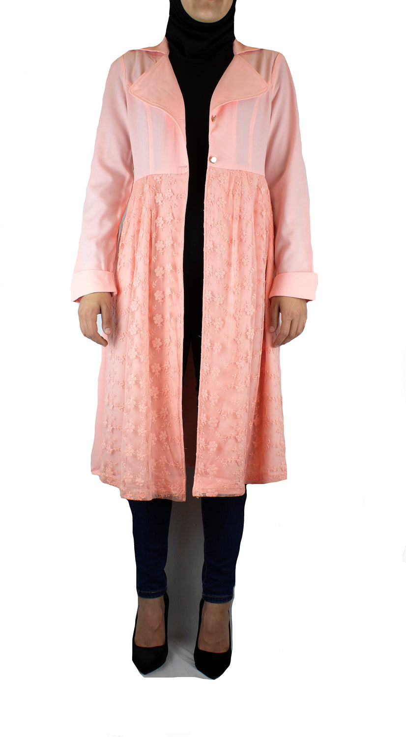 Lace Open Front Abaya - Pink