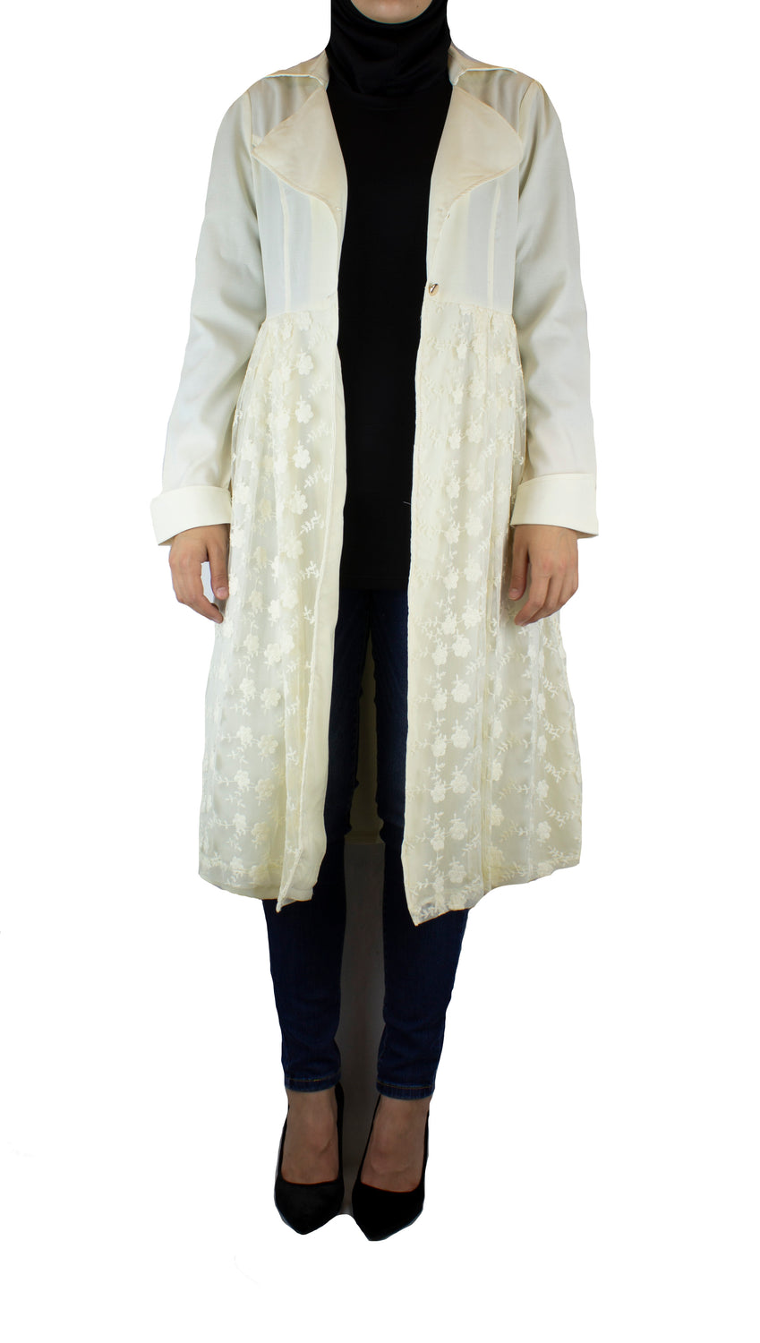 creme long sleeved cardigan embellished with creme lace with pockets and a waist tie