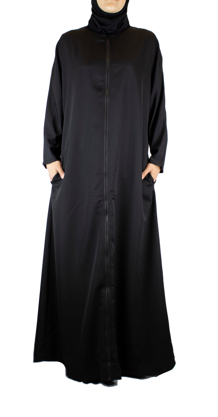 simple black abaya with a zipper and pockets
