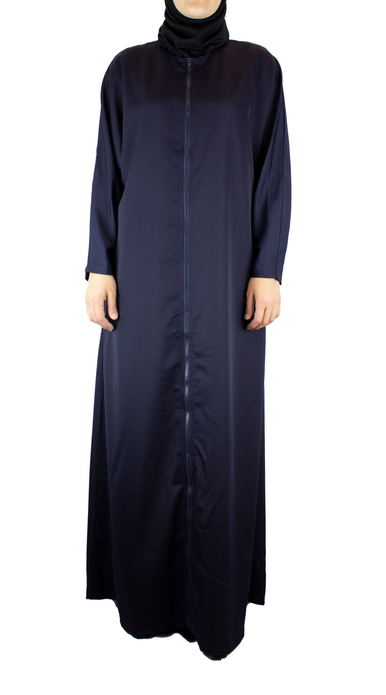 Child Essential Zip-Up Abaya - Navy