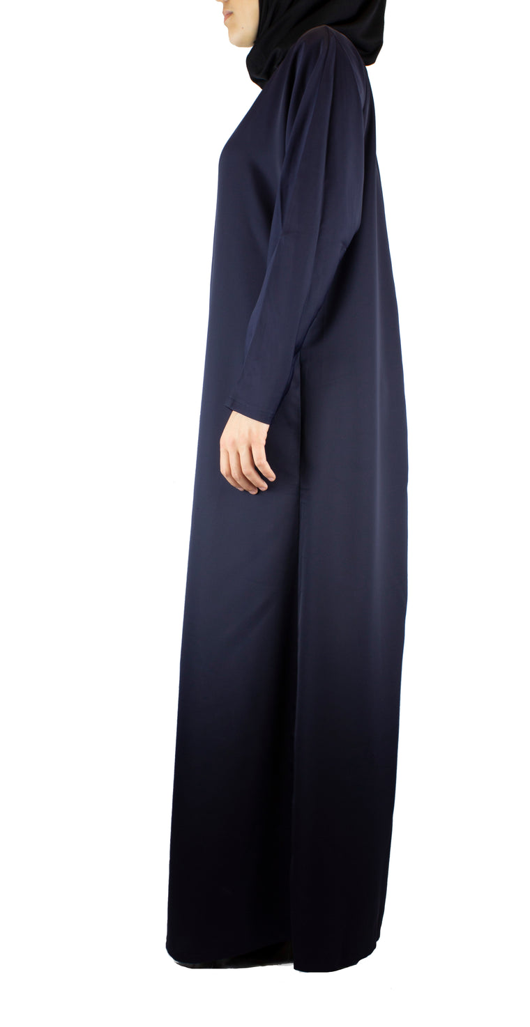 simple navy abaya with a zipper and pockets