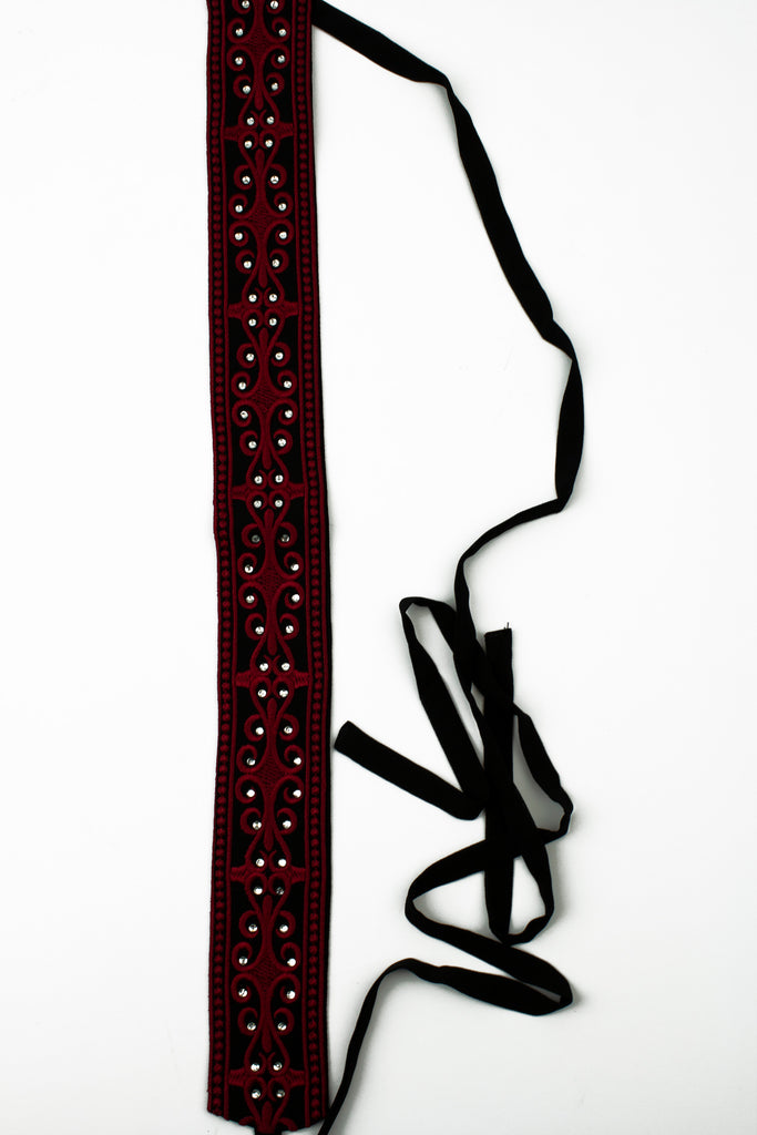 palestinian inspired embroidered belt waist tie