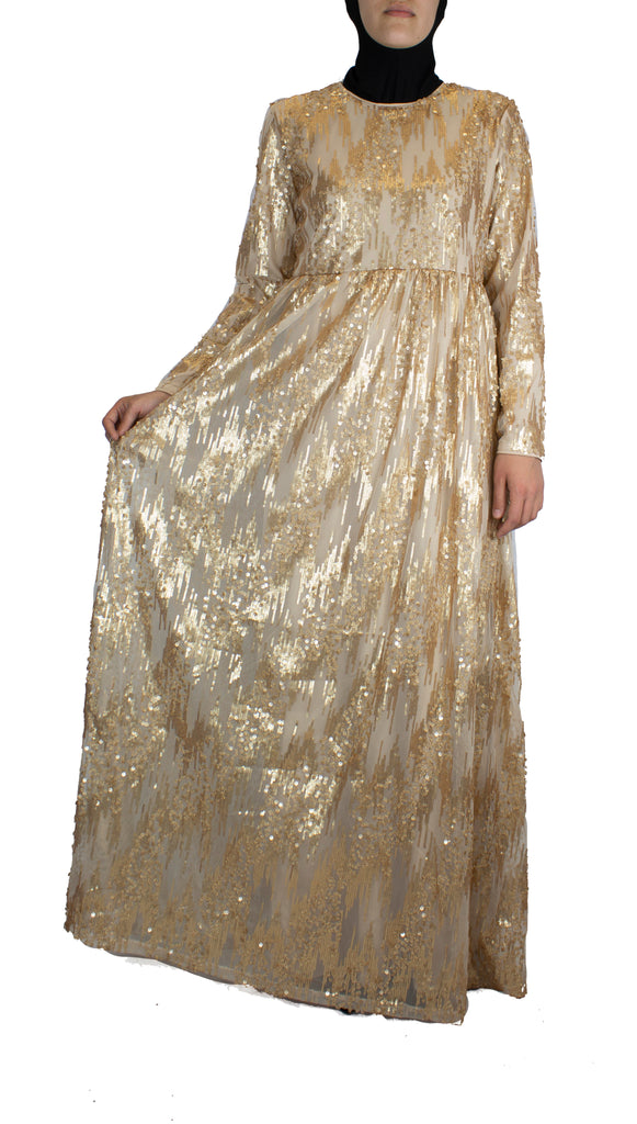creme long sleeve maxi dress with gold sequins