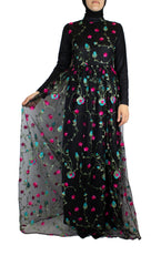 black floral embroidered long sleeve maxi dress in chiffon