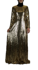 long sleeve gold and black sequin maxi dress