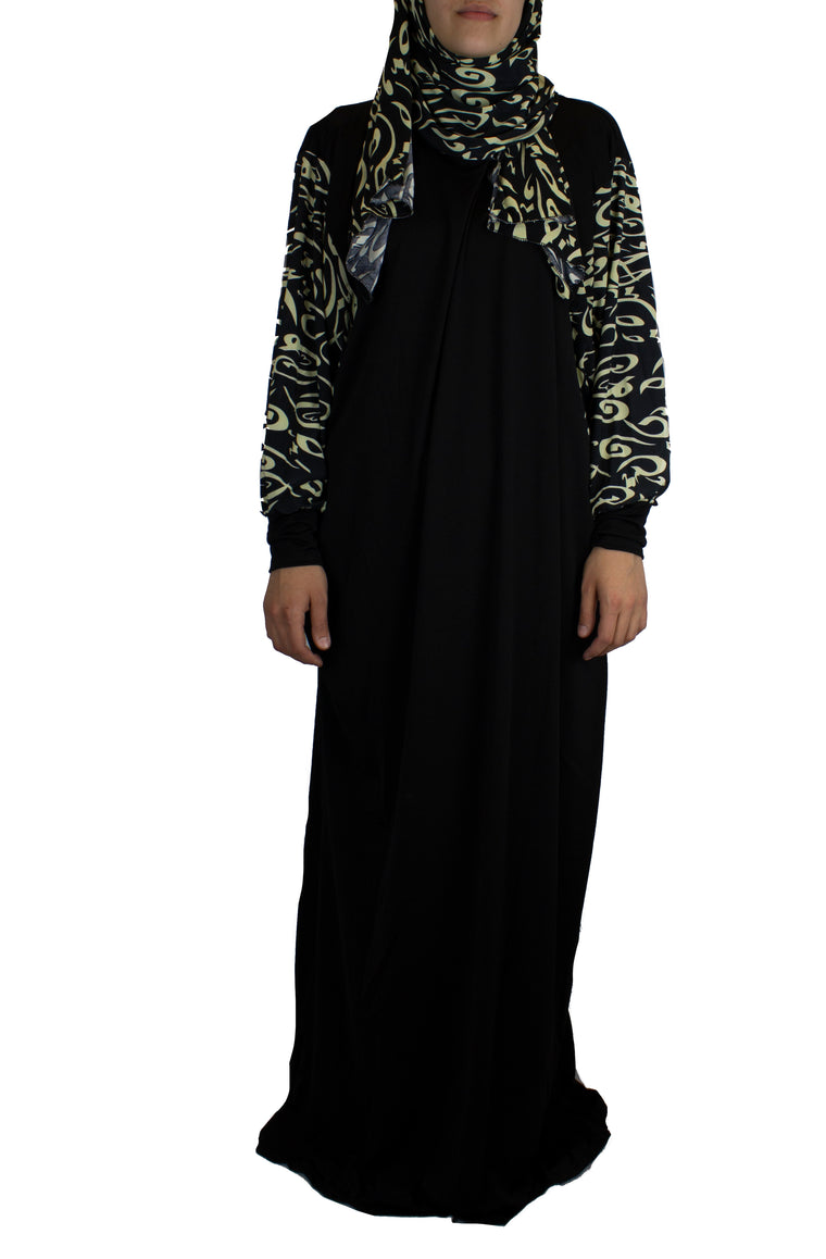 One-Piece Calligraphy Abaya w/ Attached Hijab - Black