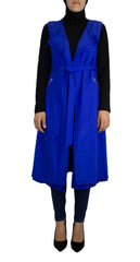 royal blue cascade sleeveless vest with a waist belt and pockets