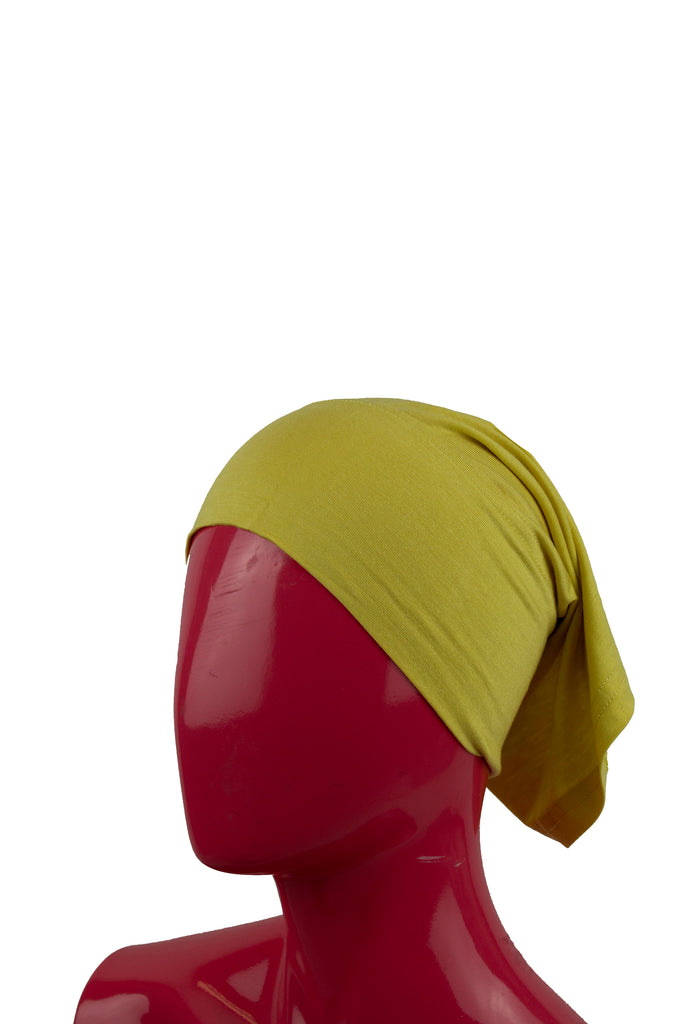 dull yellow under scarf tube cap for hijab