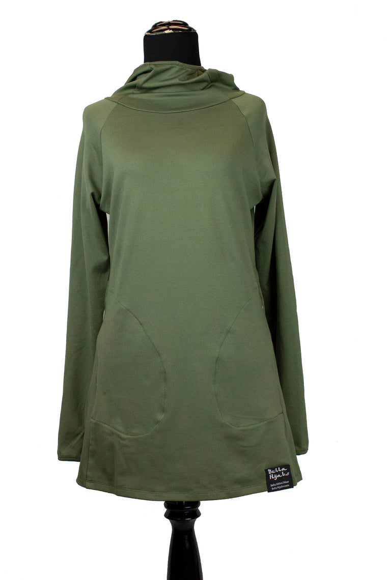 Attivo Hooded Workout Top - Olive Green