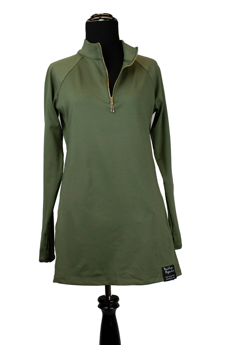 Attivo Half-Zip Workout Top - Olive Green
