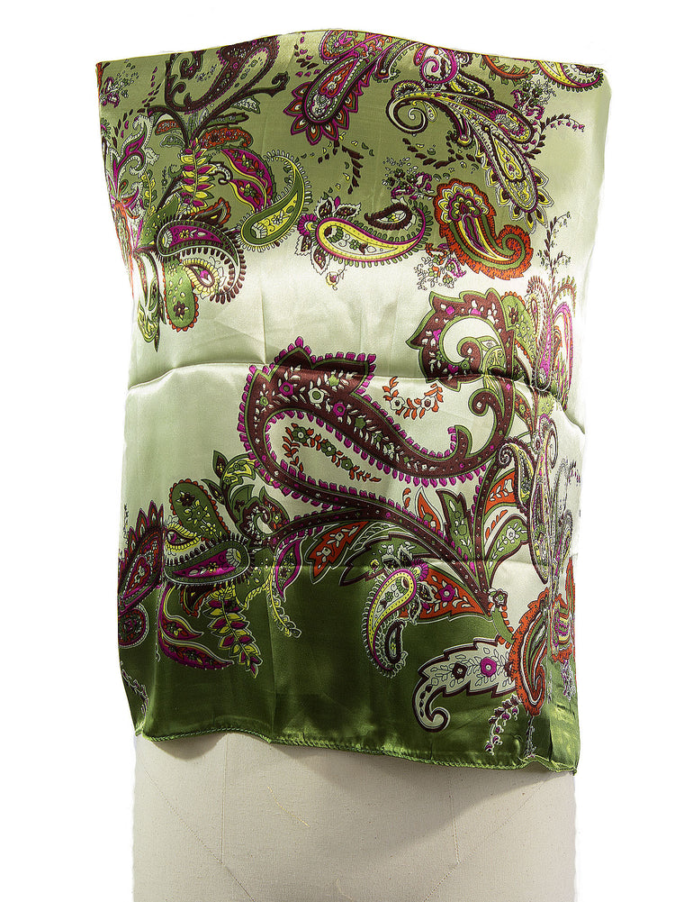 olive satin square hijab with paisley print
