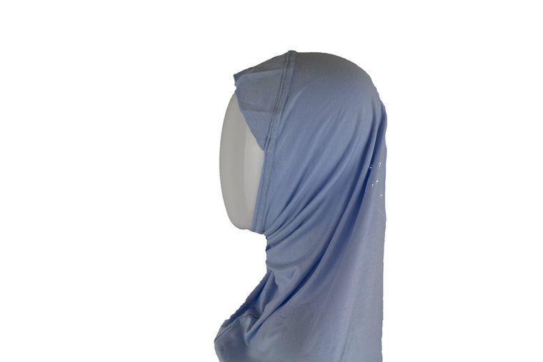 One Piece Slip on Jersey Hijab - Light Blue