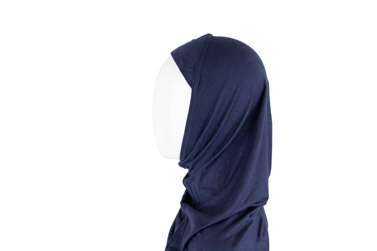 One Piece Slip on Jersey Hijab - Navy