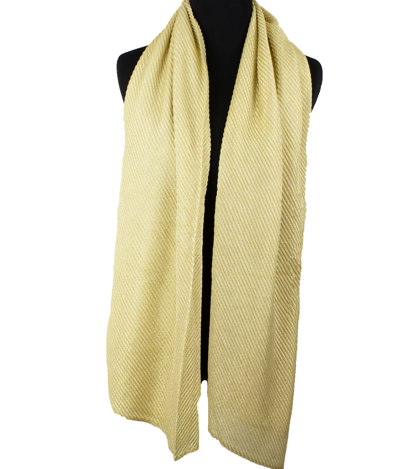 Shimmer Pleated Hijab - Gold